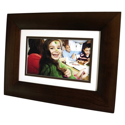 DF730P1 7` LCD Digital Photo Frame - Dark Espresso Wood