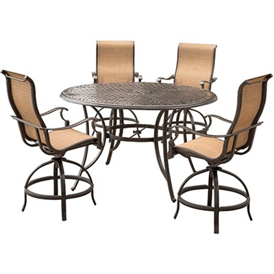 Manor 5PC High Dining Set: 4 Sling Bar Chairs 56  Cast Bar Tbl