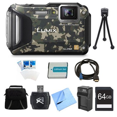 LUMIX DMC-TS6 WiFi Tough Camouflage Digital Camera 64GB Bundle