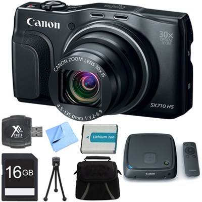 PowerShot SX710 HS 20.3MP 30x Opt Zoom HD 1080p Digital Camera Black 16GB Bundle