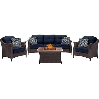 Gramercy 4-Piece Woven Fire Pit Set with Wood Grain Tile Top - GRAM4PCFP-NVY-WG