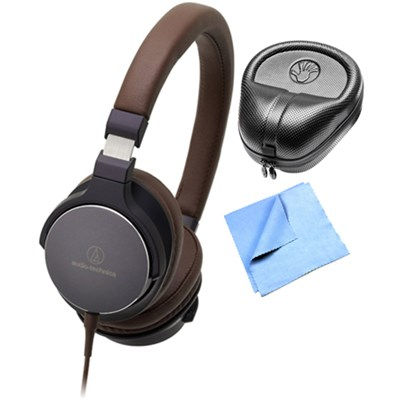 On-Ear High-Resolution Headphones w/ Slappa Case & Cleaning Cloth, Navy/Brown