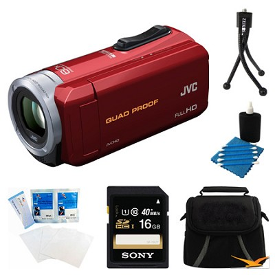 GZ-R10R Quad Proof Red 2.5 MP HD Camcorder and 16GB Card Bundle