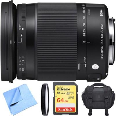 18-300mm F3.5-6.3 DC Macro OS HSM Lens Contemporary for Nikon DX Cameras Bundle