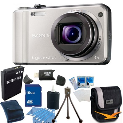 Cyber-shot DSC-H70 Silver Digital Camera 16GB Bundle