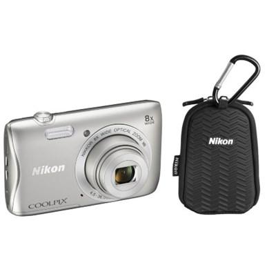 COOLPIX S3700 20.1MP 8x Optical Zoom WiFi Digital Camera w/ Case (Refurbished)