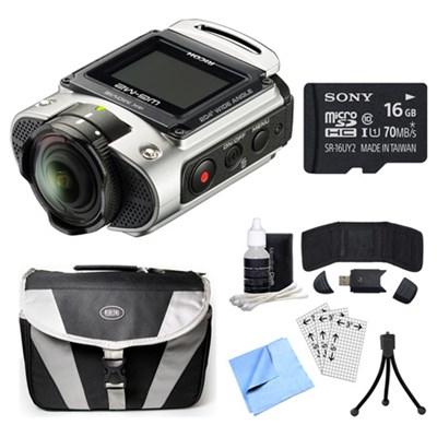 WG-M2 4K Action Silver Digital Camera, 16GB Card, and Accessory Bundle
