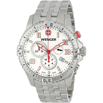 Men's Squadron Chrono Watch - White Dial/Stainless Steel Bracelet - OPEN BOX