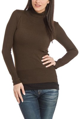 Turtleneck Sweater for Women - Color: Dark Brown / Size: XLarge