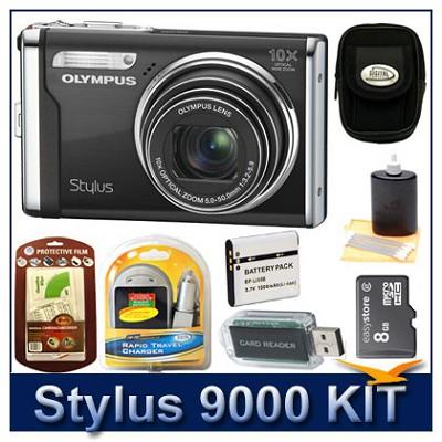 Stylus 9000 12MP 2.7` LCD Digital Camera (Black) Sensible Mega Bundle