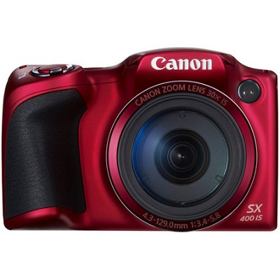 Powershot SX400 IS 16MP 30x Optical Zoom 720p HD Digital Camera - Red