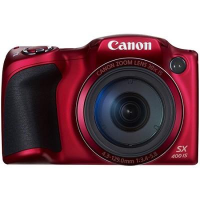 Powershot SX400 IS 16MP 30x Optical Zoom 720p HD Digital Camera - Red