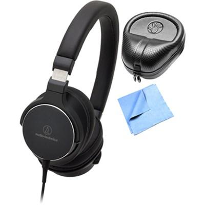 SR5 On-Ear Hi-Res Audio Headphones w/ Slappa Case & Cleaning Cloth, Black