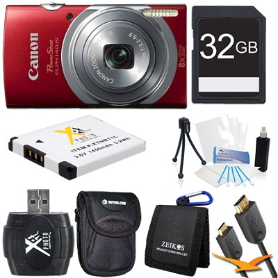 PowerShot ELPH 140 IS 16MP 8x Opt Zoom Digital Camera Red Kit