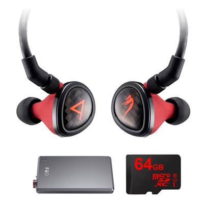 Special Edition Angie II Headphones by JH Audio, Red w/ FiiO A5 Amps Bundle