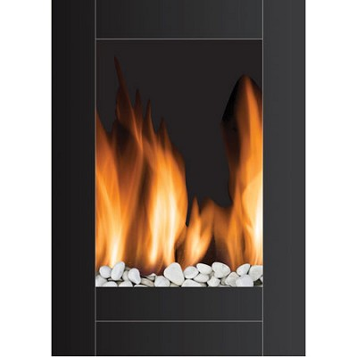 MWF-10304 Monaco Vertical Wall Hanging LED Fireplace with Remote Control - Black