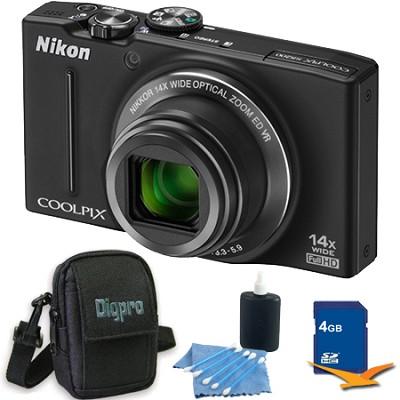 COOLPIX S8200 Black 14x Zoom 16MP Digital Camera 4GB Bundle