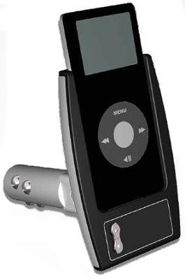 Car Charging Cradle + FM radio wireless transmitter for iPod nano