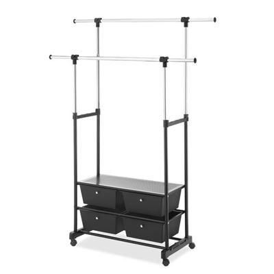 Double Garment Rack wDrawers