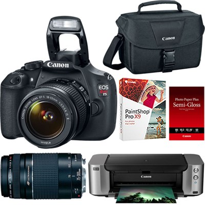 EOS Rebel T5 18MP SLR Camera + 18-55mm & 75-300mm Lenses + Pro 100 Printer/Paper
