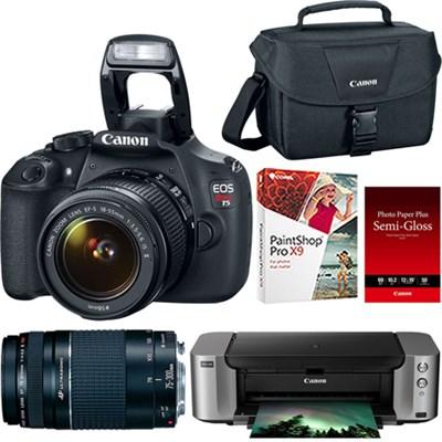 EOS Rebel T5 18MP SLR Camera + 18-55mm & 75-300mm Lenses + Pro 100 Printer/Paper