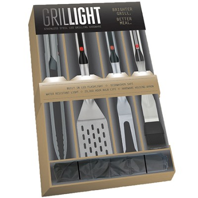 4 PC. Barbeque Set - includes Spatula, Tongs, Brush, Fork and Nylon Case