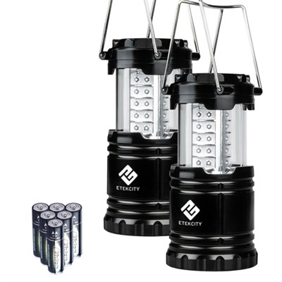 2 Pack Portable LED Camping Lanterns - Black, Collapsible