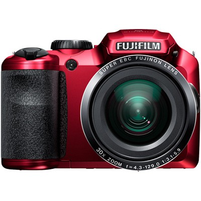 FinePix S6800 16 MP 30x Wide Angle Zoom Digital Camera - Red