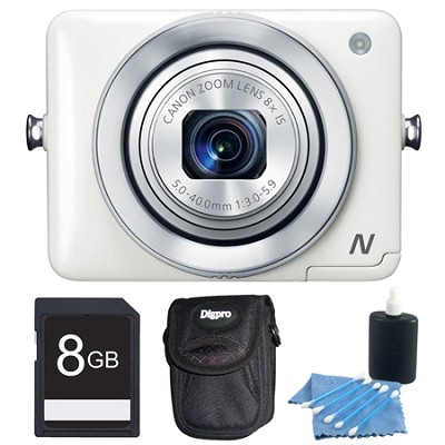 PowerShot N White 12.1MP Digital Camera 8GB Bundle