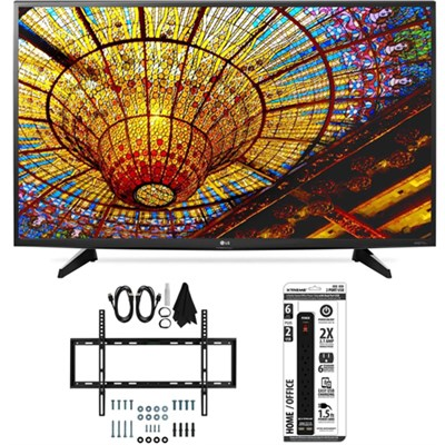 43UH6100 43-Inch 4K UHD Smart TV with webOS 3.0 Slim Flat Wall Mount Bundle
