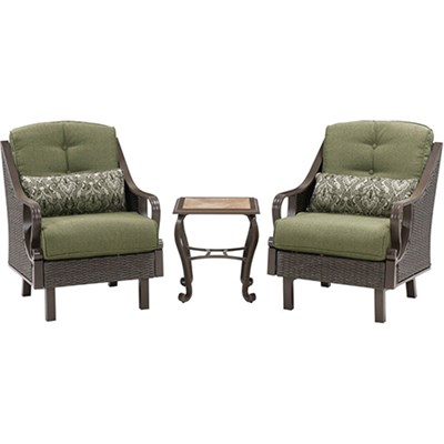 Ventura 3pc Seating Set: 2 Side Chairs 1 Ceramic Tile Top End Table