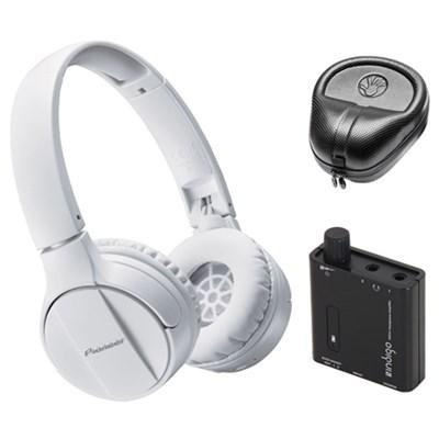 On-Ear Wireless Headphones, White w/ Amplifier Bundle