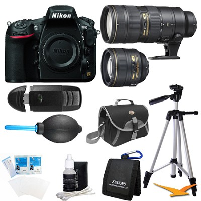 D810 36.3MP 1080p HD DSLR Camera Body with 85mm and 70-200mm Pro Lens Bundle