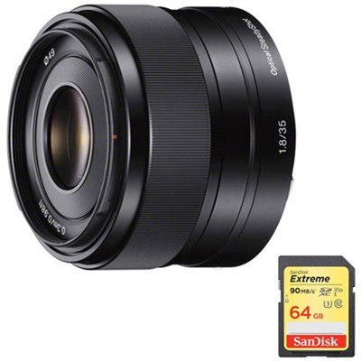 35mm f/1.8 Prime Fixed E-Mount Lens with 64GB Extreme SD Memory Card