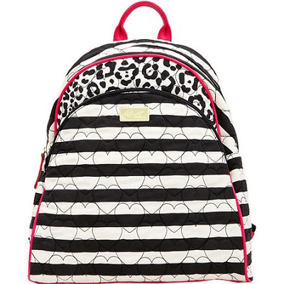 Bubble Quilted Cotton Compact Backpack, Black/White Stripes