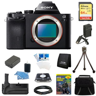 Alpha 7 a7 Digital Camera 64 GB SDHC Card, Battery and Battery Grip Bundle