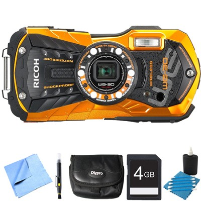 WG-30W Digital Camera with 2.7-Inch LCD Flame Orange 4GB Bundle