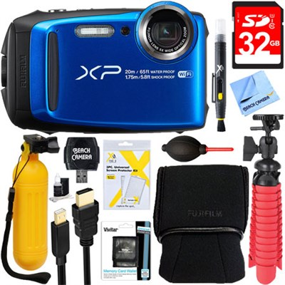 FinePix XP120 Blue Compact Waterproof Digital Camera + 32GB Accessory Bundle