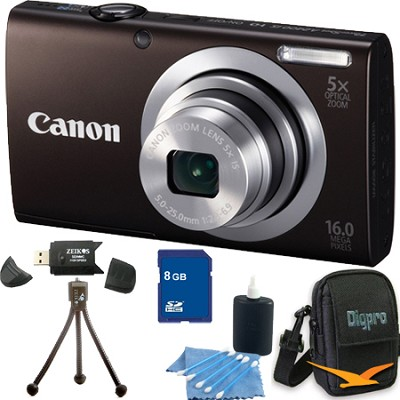 PowerShot A2400 IS 16MP Black Digital Camera 8GB Bundle