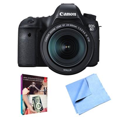 EOS 6D Full Frame 20.2 MP D-SLR with EF 24-105mm IS STM Lens Kit Elements Bundle
