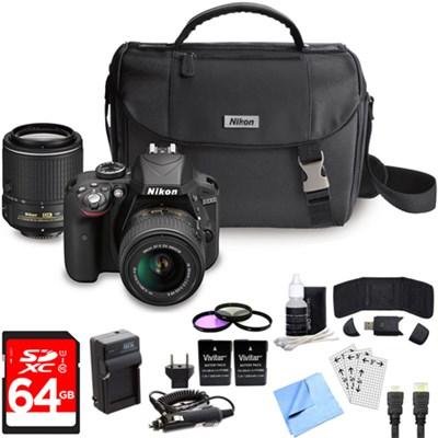 D3300 DSLR 24.2 MP HD 1080p Camera with 18-55mm + 55-200mm VR Lens Black Bundle