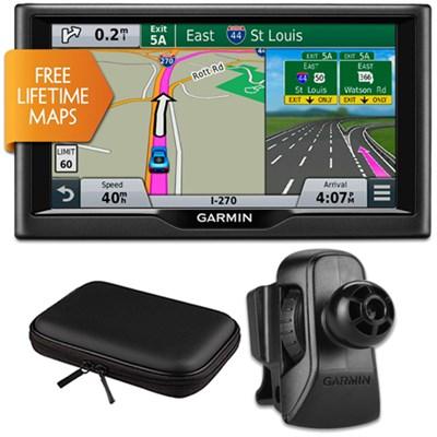 nuvi 67LM 6` Essential Series 2015 GPS w Lifetime Maps Vent Mount & Case Bundle