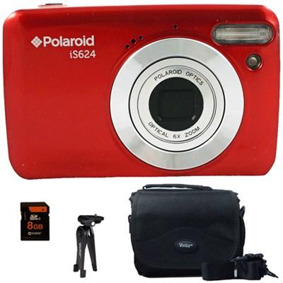 Polaroid 16MP Digital Camera IS624 - Red - 8GB Accessory Kit