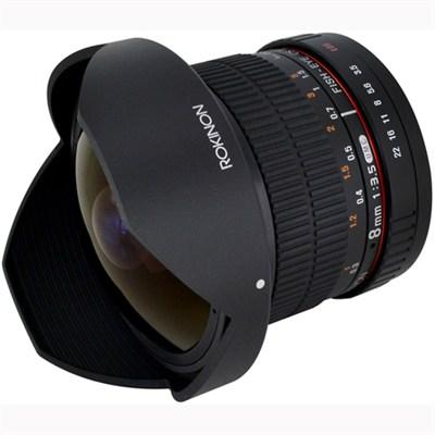 8mm f/3.5 HD Fisheye Lens./Removeable Hood/Sony E-Mnt DSLR (HD8M-NEX) - OPEN BOX