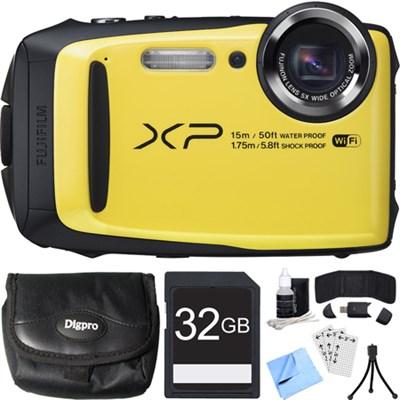 FinePix XP90 16 MP Waterproof Digital Camera Yellow 32GB SDHC Card Bundle