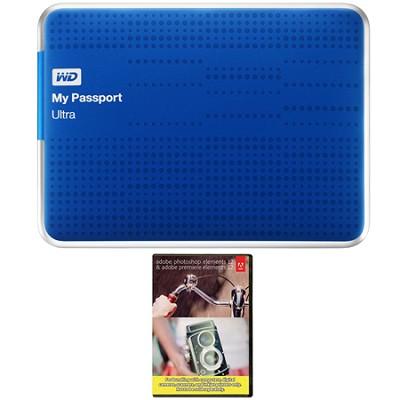 My Passport Ultra 1 TB USB 3.0 HDD Blue & Photoshop Premiere Elements 12 Bundle