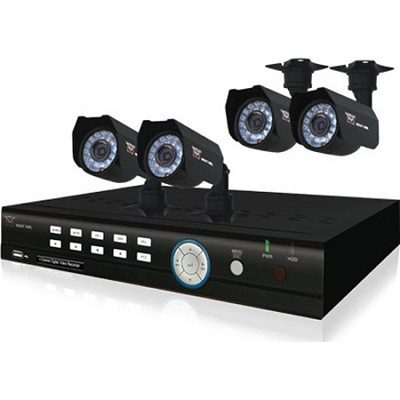 4 Channel H.264 Complete Video Security Kit with 4 Night Vision Cameras