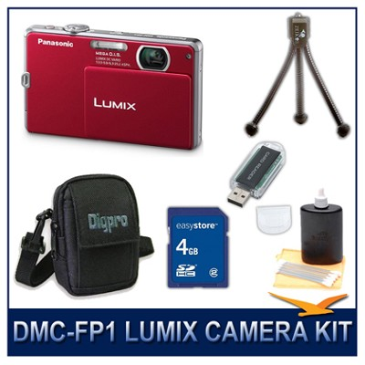 DMC-FP1R LUMIX 12.1 MP Digital Camera (Red), 4G SD Card, Card Reader & Case