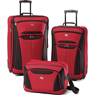 Fieldbrook II Three-Piece Luggage Set (Red/Black)