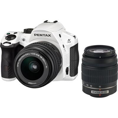 K-30 16.3 MP Digital SLR Camera w/ 18-55mm & 50-200mm AL Lenses Kit - White